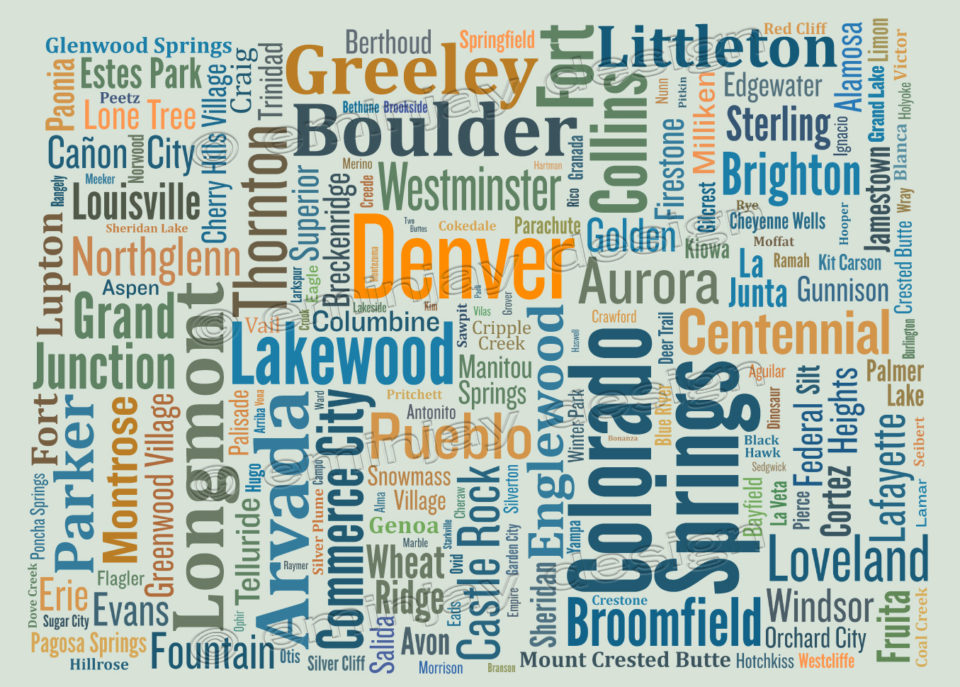 Colorado typography map art print town names